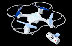 Stylish white & blue drone design with LEDs